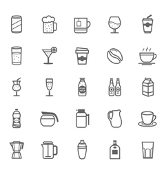 Set of Outline Stroke Beverage icon vector image