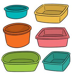set of plastic basin vector image