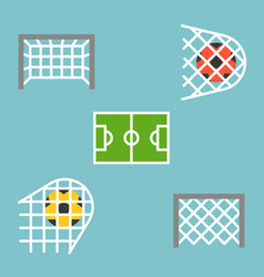 Set of shooting football strike and soccer goal vector
