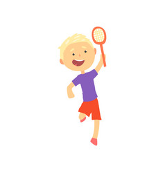 smiling blonde boy playing tennis or badminton vector image