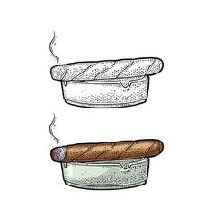 Smoking cigar and ashtray vintage vector