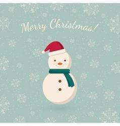 Snowman on winter backdrop vector image