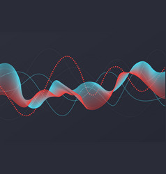 Sound wave background abstract dot line blue vector