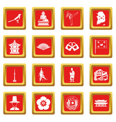 South korea icons set red vector