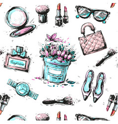 spring shopping pattern accessories clothing and vector image
