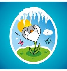 Spring snowdrop in frame vector