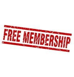 Square grunge red free membership stamp vector