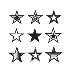 star icons symbols star isolated on white vector image