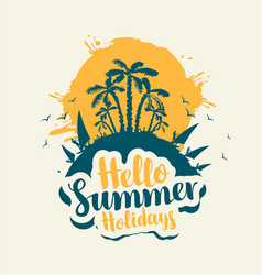 summer travel banner with palm trees and surfers vector image