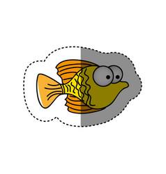 surprised fish cartoon icon vector image