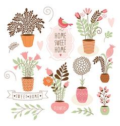 sweet home set cartoon floral elements vector image