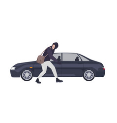 thief burglar or rubber dressed in hoodie vector image