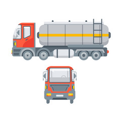 truck for oil side view and front view vector image