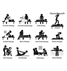 Type massages and therapies artworks depict vector