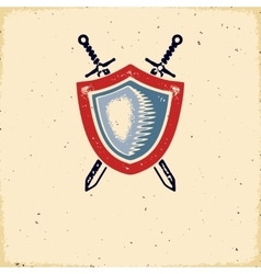 Vintage label with shield and crossed swords vector