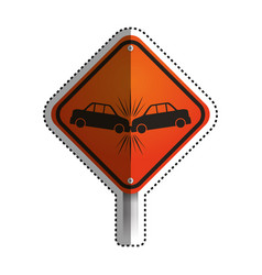 warning sign crash danger vector image