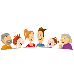whole family peeks out from behind white a vector image
