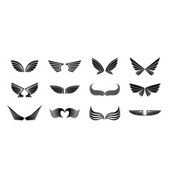 wings icon logo template set vector image
