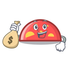 With money bag semicircle character cartoon style vector