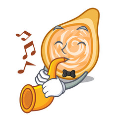 with trumpet chicken coxinha isolated on a mascot vector image