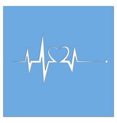 blue heart beat ekg graph vector image