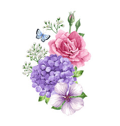 bouquet of apple tree flower gypsophila in vector image
