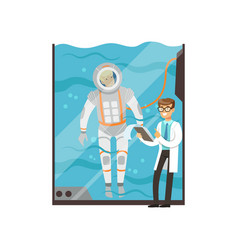 doctor conducts medical examination of astronaut vector image vector image