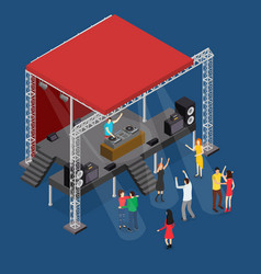 event stage podium construction disco isometric vector image