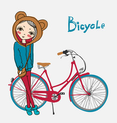 hipster girl with bicycle vector image