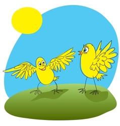 Joyful chicken welcomed friend vector image