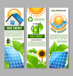 save energy banner with green house solar panel vector image