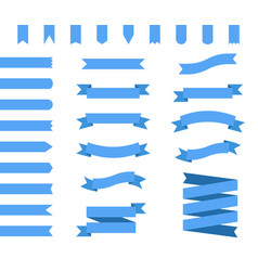 set of blue ribbons vector image vector image