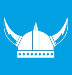 viking helmet icon white vector image vector image