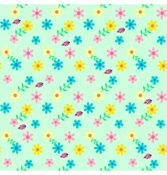 background with flowers and ladybird vector image vector image