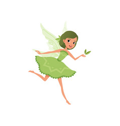 fantasy forest fairy with green hair in little vector image vector image