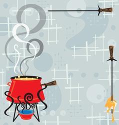 retro cheese fondue party vector image vector image