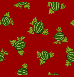 seamless pattern watermelon on red background vector image vector image