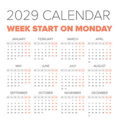 simple 2029 year calendar vector image vector image