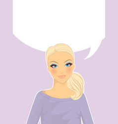 womans front face think vector image