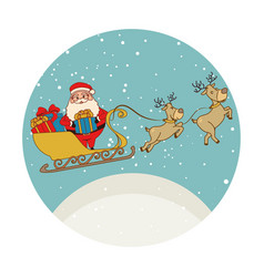 color circular shape with santa claus in sleigh vector image vector image