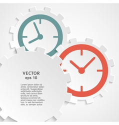 concept of time clock on the gear icon cutaway vector image vector image
