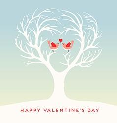 Happy Valentines Day lovebirds vector image