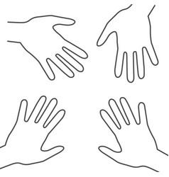 human hands outline palm hand symbols vector image