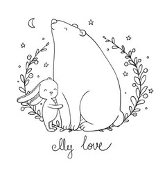 lovely cartoon bear and hare happy animals vector image vector image