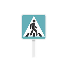 Pedestrian road sign icon flat style vector
