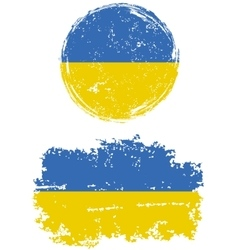 Ukrainian round and square grunge flags vector image vector image