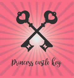 vintage crossed keys on pink background vector image vector image