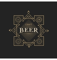 antique frame vintage border craft beer label vector image