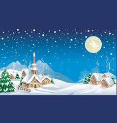 christmas night in the village vector image vector image