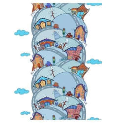 Seamless vertical pattern with cartoon houses vector image